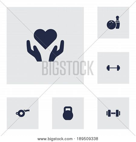 Set Of 6 Bodybuilding Icons Set.Collection Of Kegling, Heart In Hand, Dumbbell Elements.