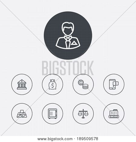 Set Of 9 Budget Outline Icons Set.Collection Of Cash Register, Bank, Justice And Other Elements.