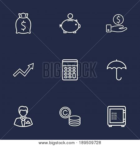 Set Of 9 Finance Outline Icons Set.Collection Of Protect, Moneybag, Businessman And Other Elements.