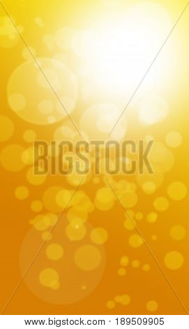 Orange abstract bokeh background with bright lights and copy spacy