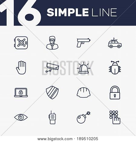 Set Of 16 Procuring Outline Icons Set.Collection Of Vision, Alarm, Worker And Other Elements.