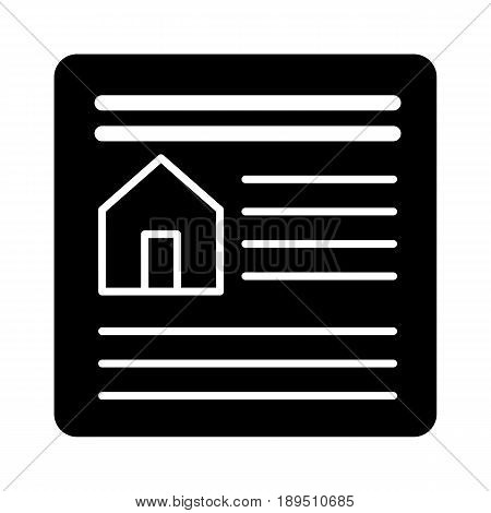 Real estate contract simple vector icon. Black and white illustration of document. Outline linear icon. eps 10