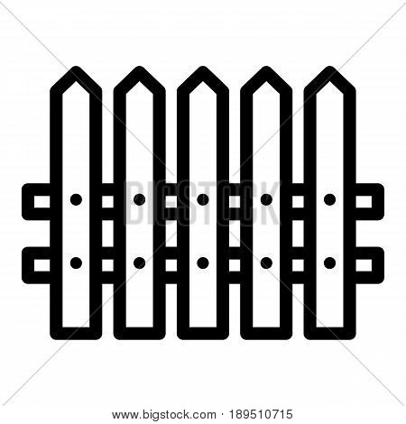 Fence simple vector icon. Black and white illustration of house fence. Outline linear icon. eps 10