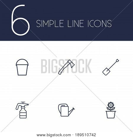 Set Of 6 Horticulture Outline Icons Set.Collection Of Atomizer, Bailer, Hatchet And Other Elements.