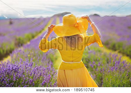 woman in a yellow dress on lavender field in english garden