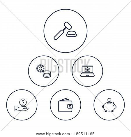 Set Of 6 Budget Outline Icons Set.Collection Of Auction, Money Box, Savings And Other Elements.