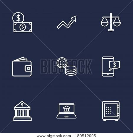 Set Of 9 Budget Outline Icons Set.Collection Of Safe, Electron Payment, Grow Up And Other Elements.