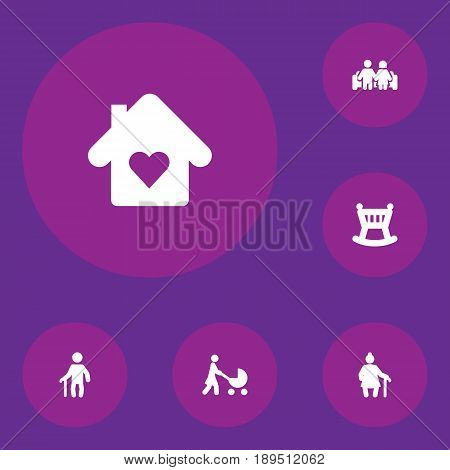 Set Of 6 People Icons Set.Collection Of House, Perambulator, Grandma Elements.