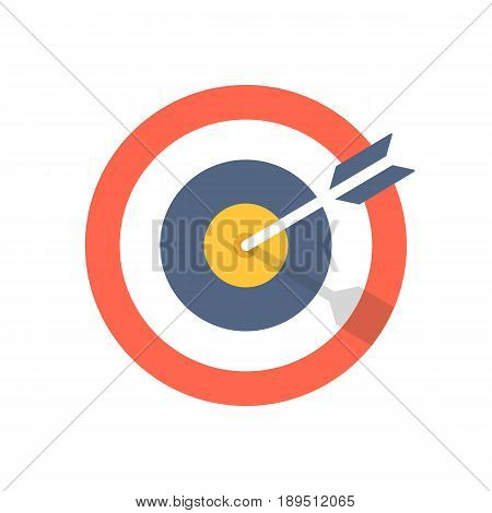 Target and arrow icon. Bullseye symbol. Modern flat design graphic illustration. Vector target and arrow icon