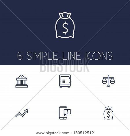 Set Of 6 Budget Outline Icons Set.Collection Of Bank, Safe, Justice And Other Elements.