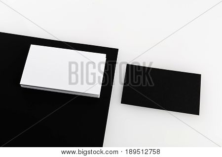 Black and white blank business cards for placing your design.