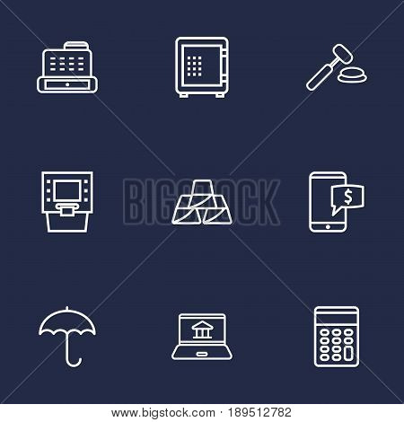 Set Of 9 Budget Outline Icons Set.Collection Of Protect, Atm, Golden Bars And Other Elements.