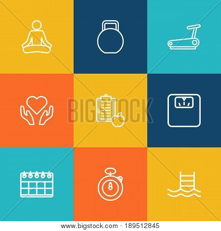 Set Of 9 Bodybuilding Outline Icons Set.Collection Of Pool, Scales, Stopwatch And Other Elements.
