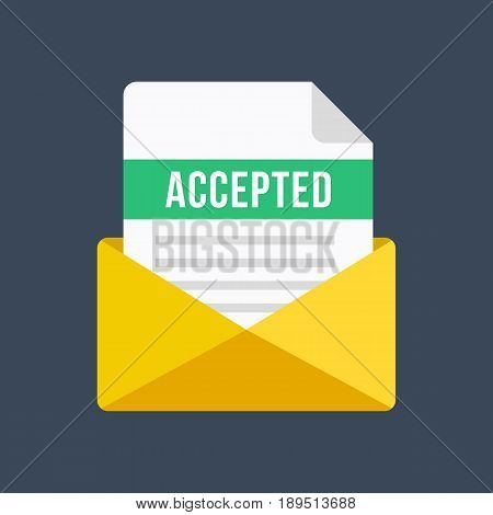 Envelope with acceptance letter. Email and document with accepted title. Modern flat design vector illustration
