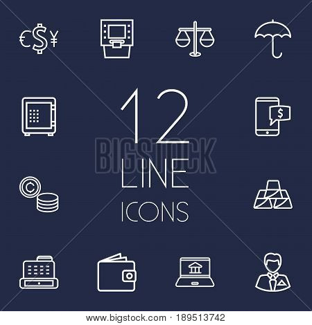 Set Of 12 Budget Outline Icons Set.Collection Of Wallet, Cash Register, Atm And Other Elements.