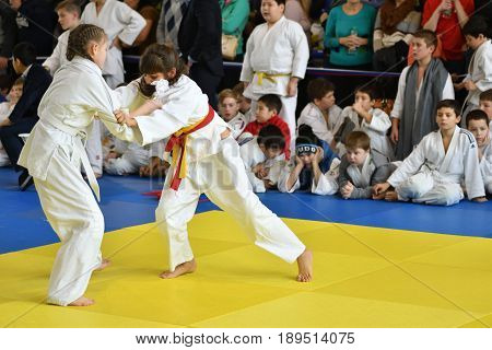 Orenburg, Russia - 05 November 2016: Girls Compete In Judo
