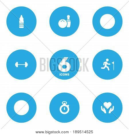 Set Of 6 Bodybuilding Icons Set.Collection Of Kegling, Dumbbell, Running And Other Elements.