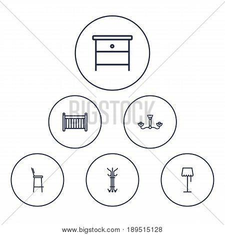 Set Of 6 Situation Outline Icons Set.Collection Of Bar Stool, Floor Lapm, Hanger And Other Elements.