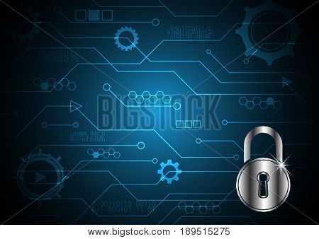 Technology Digital Future Abstract Cyber Security Lock Circuit Background