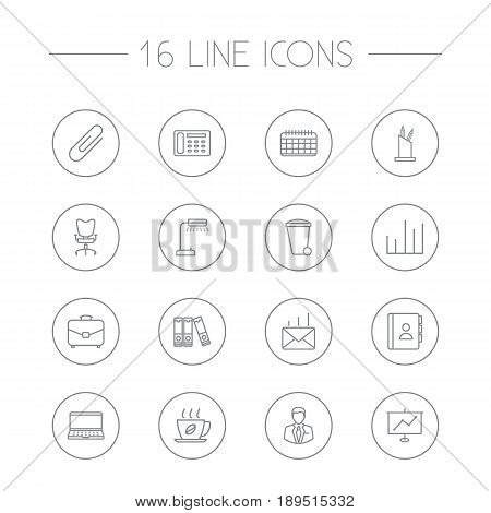 Set Of 16 Bureau Outline Icons Set.Collection Of Recycle Bin, Portfolio, Fastener Paper And Other Elements.