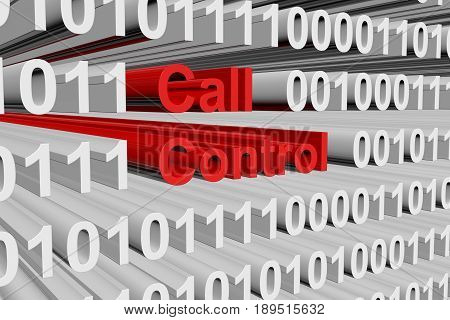 Call control in the form of binary code, 3D illustration