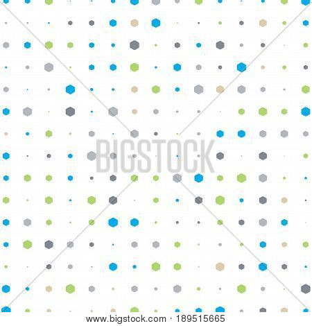 Abstract geometric white background with hexagons of different size and colors.