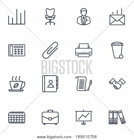 Set Of 16 Work Outline Icons Set.Collection Of Document Case, Show, Date And Other Elements.