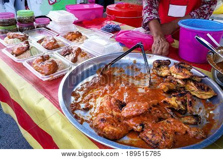 Ayam Percik Or Grilled Chicken, Popular Malay Food In Malaysia