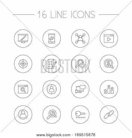Set Of 16 Optimization Outline Icons Set.Collection Of Stock Exchange, Copyright, Item Identifier And Other Elements.
