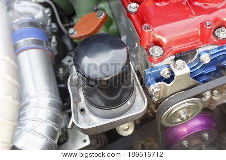Oil filter on diesel racing car engine