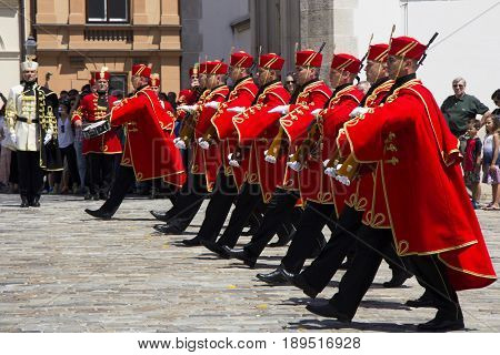 ZAGREB CROATIA - JUNE 03 2017: Shift of the Guards Ceremony On the St. Mark's Square on June 03 2017 in Zagreb.