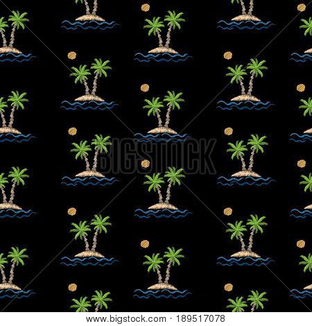 Seamless pattern with embroidery stitches imitation little palm tree with wave and sun. Exotic palm tree embroidery pattern vector background for printing on fabric paper for scrapbook gift wrap.