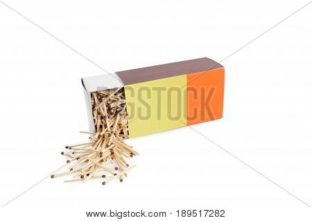 Big half open recumbent matchbox filled with matches isolated on white background