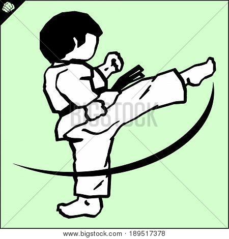 Fighting combat Fighter in kimono dogi taekwondo hapkido Vector EPS