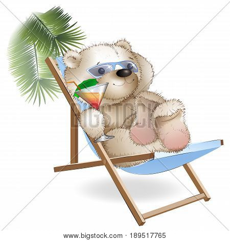 Teddy bear lying on a sun lounger on the beach. Teddy bear under a palm tree with a cocktail. Drawing on a white background.