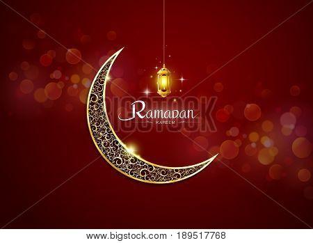 ramadan kareem ramadhan with lamp no mesh object vector illustration