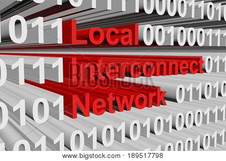 Local Interconnect Network in the form of binary code, 3D illustration