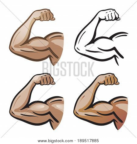 Strong male arm, hand muscles, biceps icon or symbol. Gym, health, protein logo. Cartoon vector illustration isolated on white background