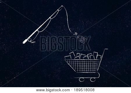 Fishing Rod Catching Sale Promotion Tag From Shopping Cart Full Of Items