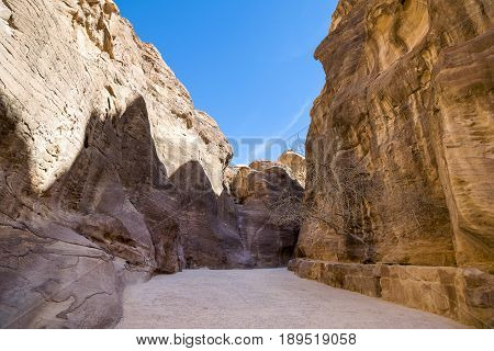 Landscape of the Siq canyon Petra Jordan