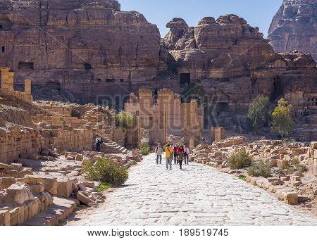 Petra, Jordan - 12 May 2017: View from Colonnade Street Petra Jordan