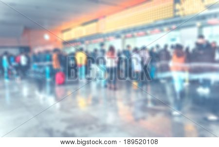 Blurred Background ,people Queuing To Buy A Public Transport Auto Ticket,transportation Concept,pale