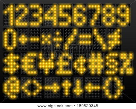 Led digital font based on dot-matrix technology. Set of scoreboard numbers and symbols. Vector typeface for airport schedules display train timetables scoreboard variable message sign