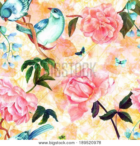Seamless pattern with watercolor drawings of vibrant teal blue birds, blooming pink roses, camellias, and peonies, and butterflies, hand painted on a pastel background of abstract branches poster