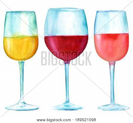A set of three watercolor drawings of glass of wine, white, red, and rose, isolated on white background