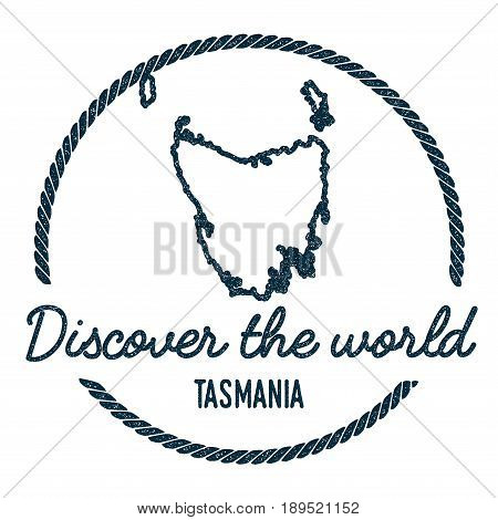 Tasmania Map Outline. Vintage Discover The World Rubber Stamp With Island Map. Hipster Style Nautica