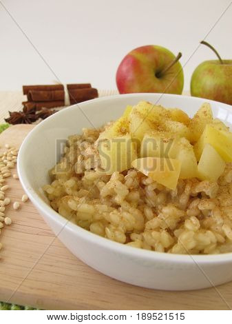Mochi milk rice pudding with stewed apples