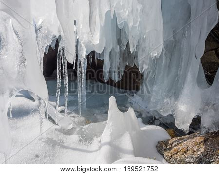 Icicles at Ice cave in Frozen Lake Baikal, Russia