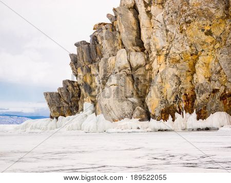 Lanscape of island in Frozen Lake Baikal with Ice and snow