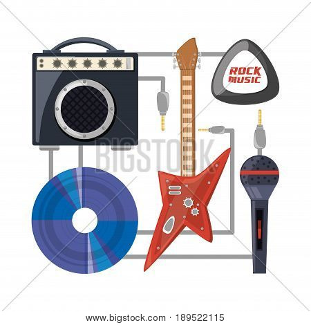 electric guitar with amplifier speaker cd and microphone music concept vector illustration